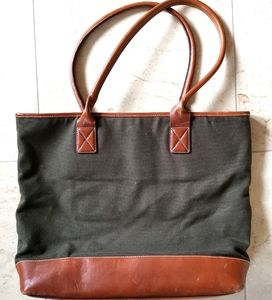 Eddie Bauer canvas and leather tote bag